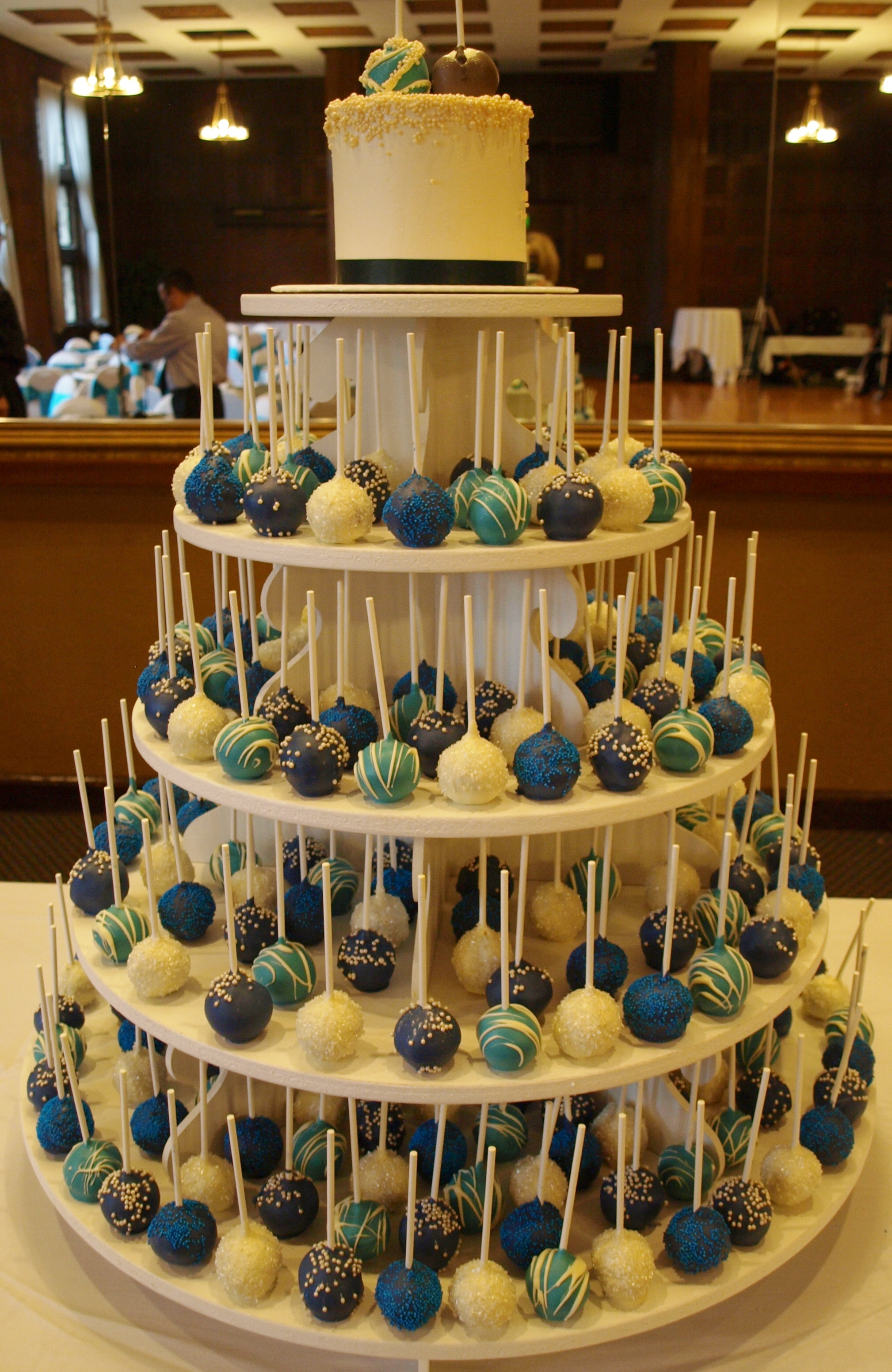 Blue Cake Pops on Stand