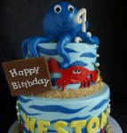 Octopus, crab, shark, clam cake, ocean cake, sea creatures cake, first birthday cake