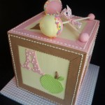 Girl Baby Shower Block Cake, cake pop rattles Portland Oregon