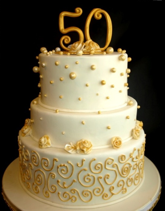 Gold Anniversary Cake 50th Fondant Cake Portland OR