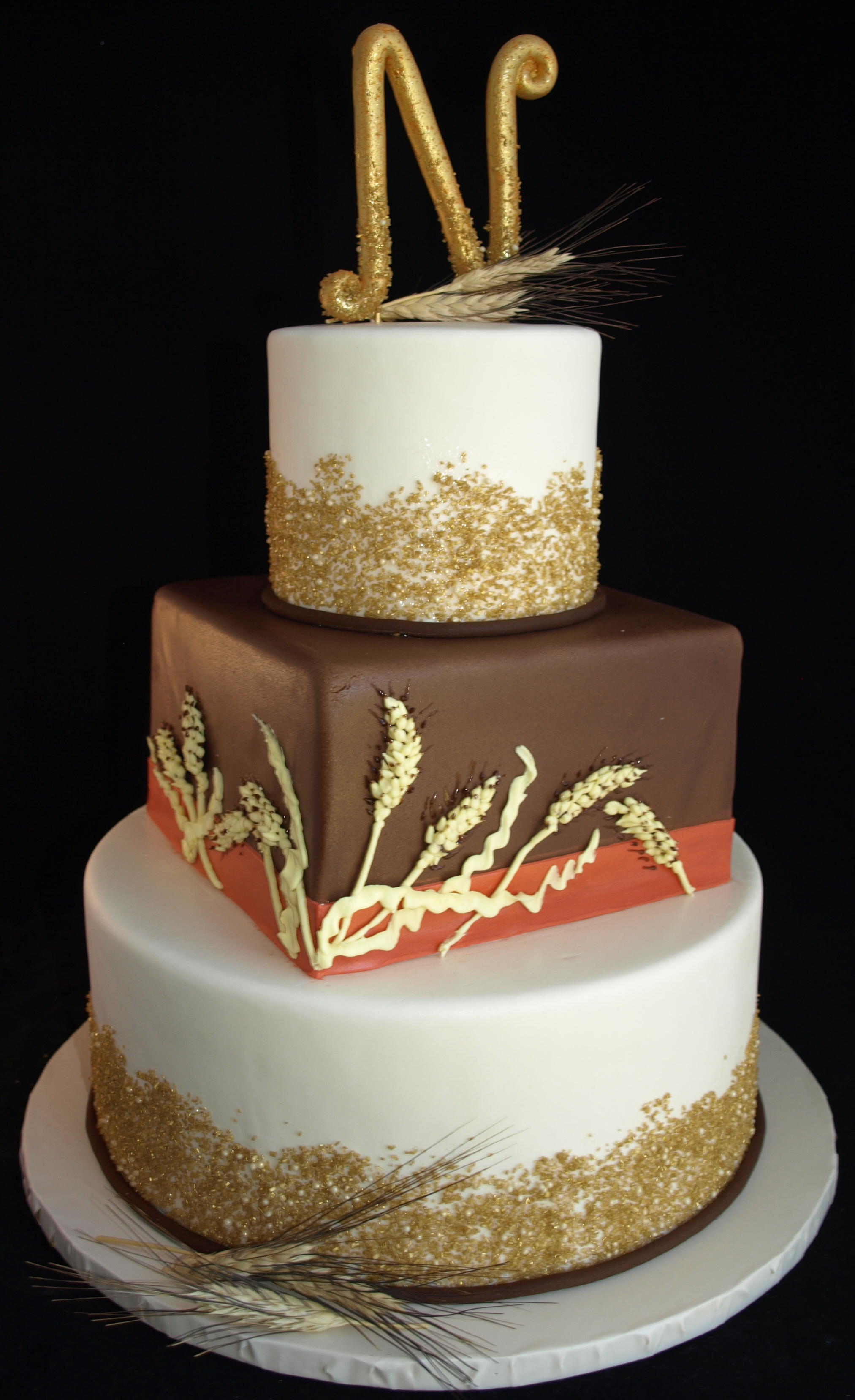 Fall Wedding Cake, Brown Orange Gold Fondant Wedding Cake, Monogram Cake topper