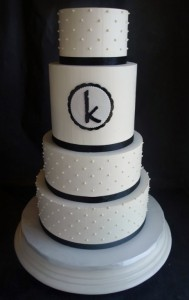 Swiss Dot Buttercream Monogram Cake, Portland, OR