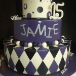 Mardi Gras Quinceneara Cake Birthday Cake Purple Black White Portland OR