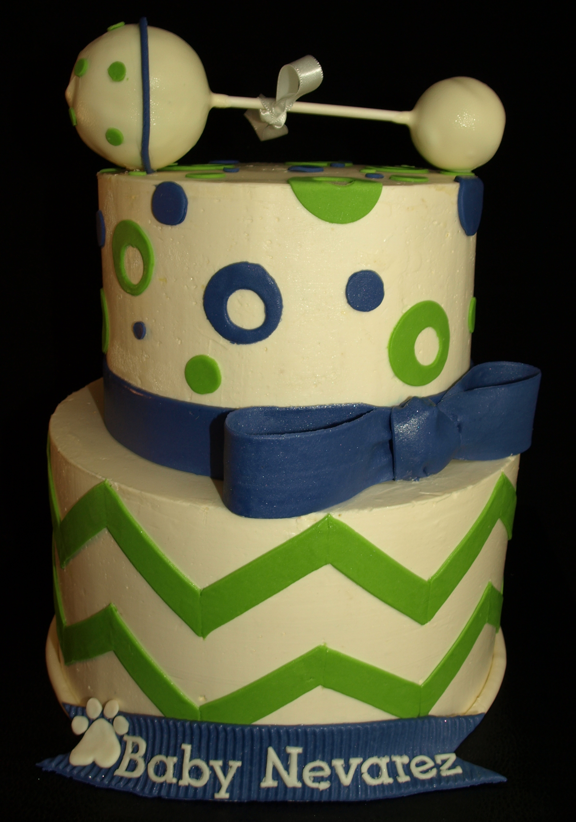 Chevron Baby Rattle Baby Shower Cake