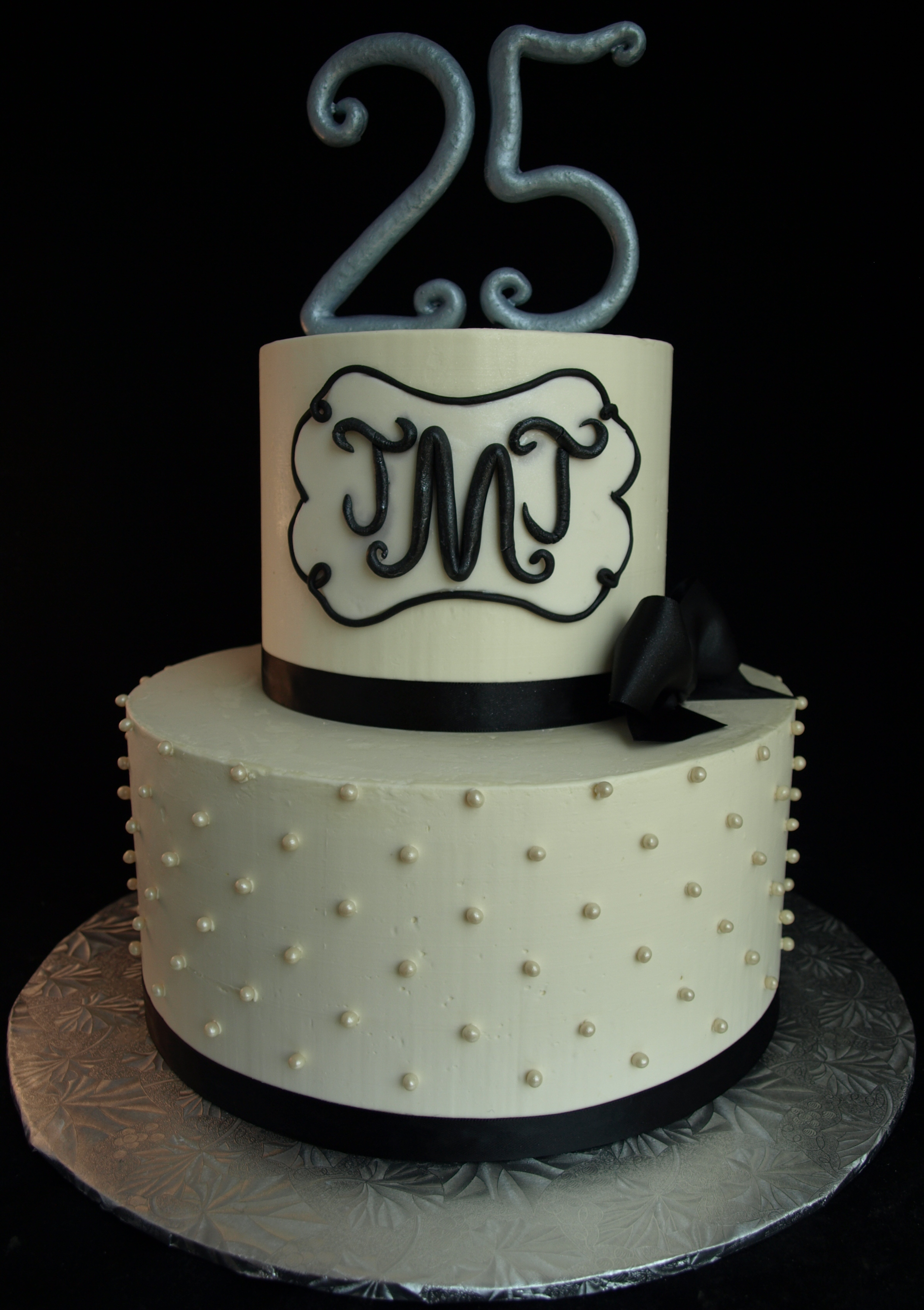 25th or Silver anniversary cake with monogram Portland oregon