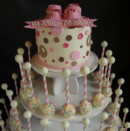Baby Rattle Cake Pop Tower Pink