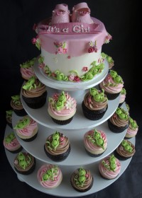 Pea in a Pod Girls Baby Shower Cupcake Tower Portland OR