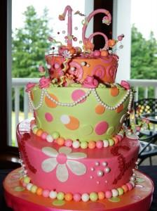 Sweet 16 Topsy Turvy Cake Birthday Cake Pink Green Orange Portland OR