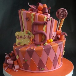 Whimsical Birthday Cake Topsy Turvy Cake Portland OR
