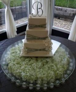 Unique Glass Cake Stand/Display with Candles Rental Portland, ORegon