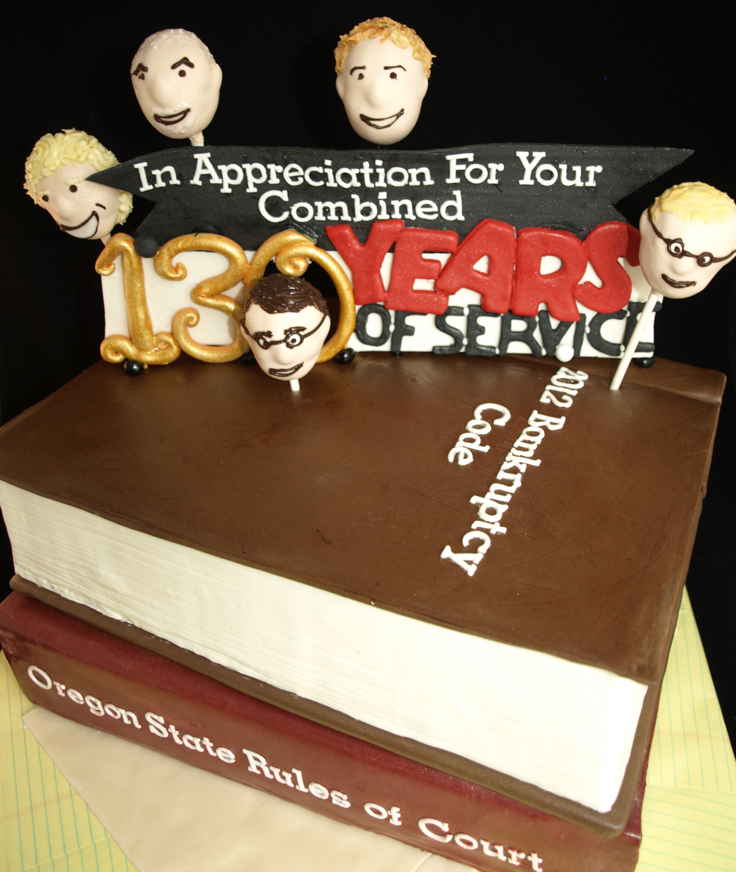 Lawyer Attorney book cake with cake pop caricatures heads