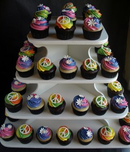Tie Dye Cupcakes with Peace Signs and Flowers