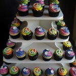 Seventies 70's Tie Dye Cupcakes with Peace Signs, Flowers