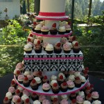Black White Pink Damask Cupcake Tower