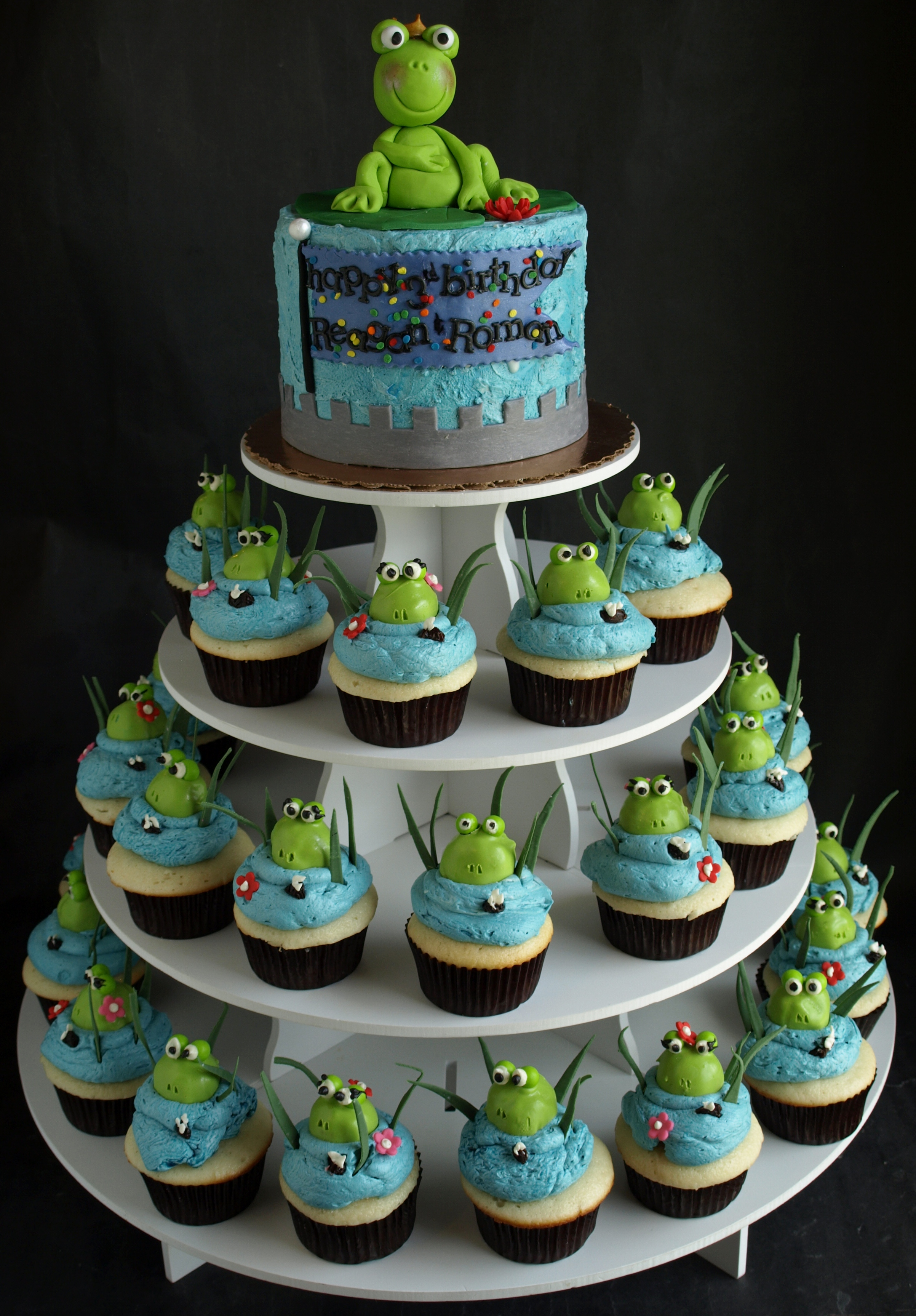 Frog Cupcake Stand Portland Oregon Boy Birthday cupcakes Girl birthday cupcakes